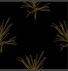 golden fir branches decor seamless pattern vector image