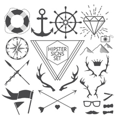 Hipster signs and symbols set with anchor vector image vector image