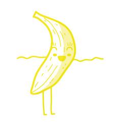kawaii cute happy banana fruit vector image vector image
