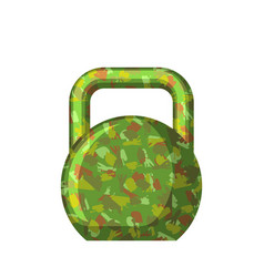 Kettlebell green camouflage military gift for men vector