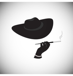 Lady in a hat with a cigarette in the mouthpiece vector image
