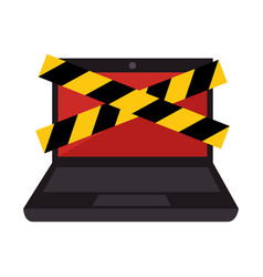 Laptop computer with security tape vector