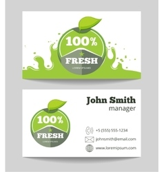 Organic fresh natural food business card vector image vector image