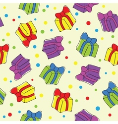 Seamless hand drawn present pattern vector image
