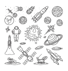 Space doodle linear icons vector