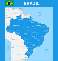 The detailed map of the brazil with regions or vector