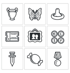 The hobby of collecting icons set vector
