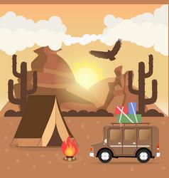 Travel car campsite place landscape mountains vector