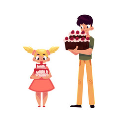 Two kids boy and girl holding birthday cakes vector
