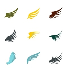 Types of wings icons set flat style vector image vector image