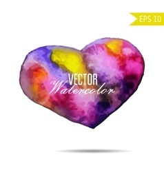 Watercolor painted colorful rainbow heart vector image