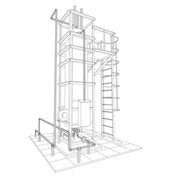 Wire-frame oil and gas industrial equipment vector