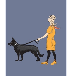 Woman A Dog vector image vector image