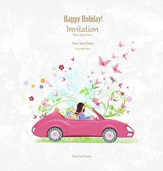 Invitation card with pretty girl in pink vector image