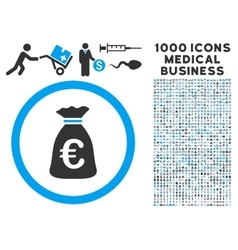 Euro money bag icon with 1000 medical business vector