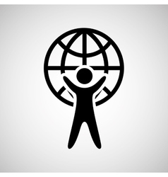 Silhouette man holding globe design vector