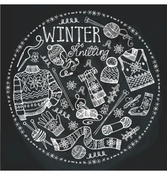 Doodle winter knittingcircle composition vector