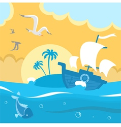 Island in the ocean vector