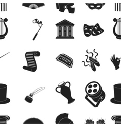 Theater pattern icons in black style big vector