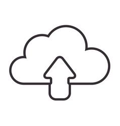 Monochrome contour with cloud upload service vector