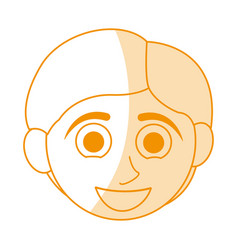 Orange silhouette shading caricature front face vector