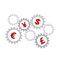 rotating gears with currency symbols inside vector image