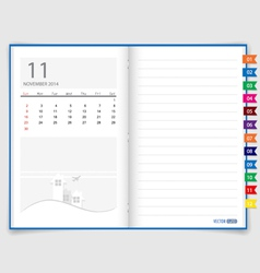 2014 calendar on notebook paper november vector