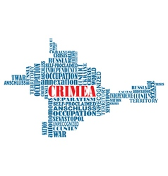 conceptual word map of Crimea ukrainian territory vector image
