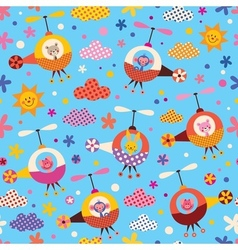 Cute animals in helicopters kids seamless pattern vector