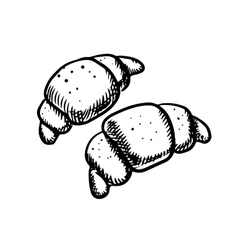 Fresh french croissants icons sketch vector