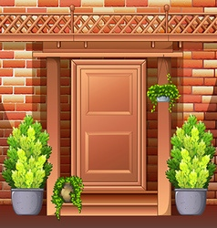 Front door of a house vector