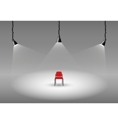Empty photo studio with spotlights and chair vector