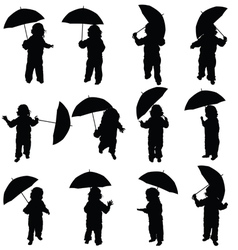 Child with umbrella silhouette in black vector