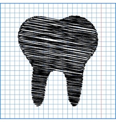 Tooth icon with pen effect on paper vector