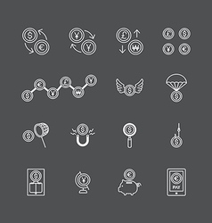 Linear web icons set - business money currency coi vector