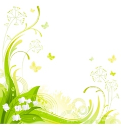 Floral summer background with white lily of the vector