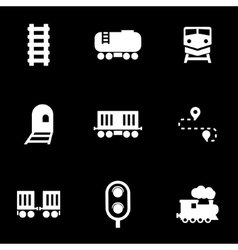 White railroad icon set vector