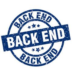 Back end blue round grunge stamp vector