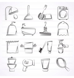 Bathroom and hygiene objects icons vector image