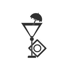 Black icon on white background condom and cocktail vector