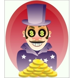 businessman with gold coins vector image vector image