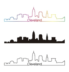 Cleveland skyline linear style with rainbow vector image