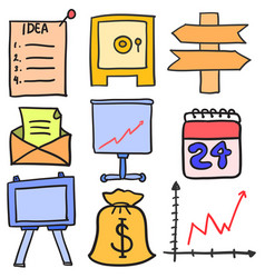 Collection of business object various doodles vector