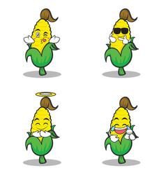 Collection set sweet corn character cartoon vector
