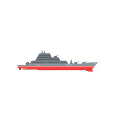 Colored military warship with radar and guns fixed vector