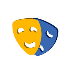 Comedy and tragedy theater masks symbol flat vector