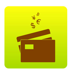credit cards sign with currency symbols vector image vector image