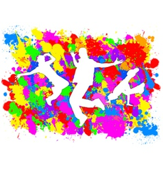 Dancers on Paint Splats vector image