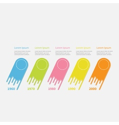 Five step timeline infographic colorful comet vector