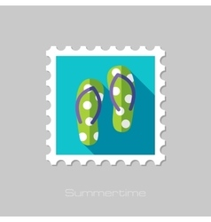 Flip Flops flat stamp with long shadow vector image